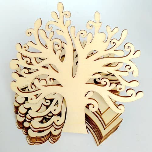 10 Pcs Engraving Tree Shaped Wood Buttons DIY Scrapbooking Sewing Crafts Gift qsbai