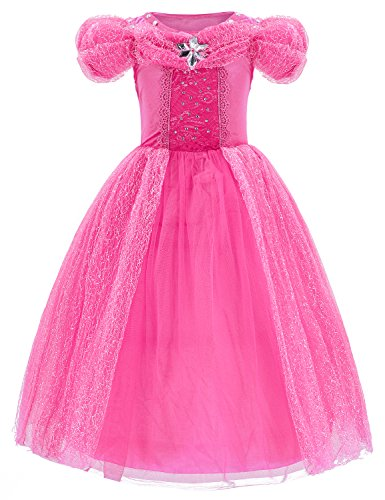 Princess Cinderella Dress Up Party Costumes with Deluxe Accessories Set 4-5 Years(Rose Red 110cm) by Party Chili (Image #3)