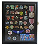 metals display case - Display Case Cabinet Shadow Box for Military Medals, Pins, Patches, Insignia, Ribbons, (Black Finish)