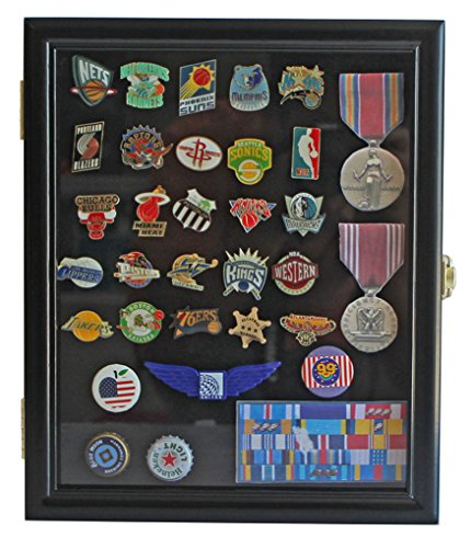 Display Case Cabinet Shadow Box for Military Medals, Pins, Patches, Insignia, Ribbons, (Black Finish)