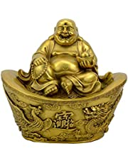Large Laughing Buddha Statues,Pure Brass Chinese Feng Shui Decor Home Office Wealth Good Luck Prosperity Figurines,Two Colors