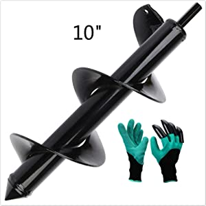 """3"""" x 10"""" Auger Drill Bit,LuvisR Garden Plant Flower Bulb Auger 3"""" x 10"""" Rapid Planter with Garden Genie Gloves, LuvisR Post or Umbrella Hole Digger for 3/8"""" Hex Drive Drill"""