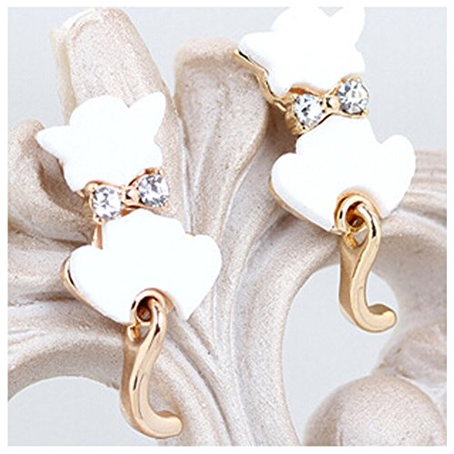 Elakaka Women's Cute Kitten Bow Earrings (White)