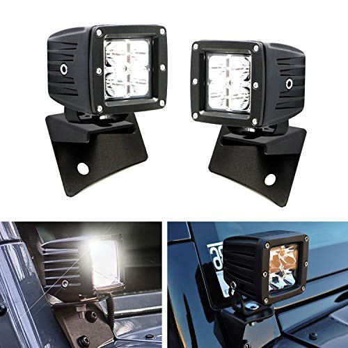 (iJDMTOY Windshield A-Pillar LED Pod Light Kit For 2007-2017 Jeep Wrangler JK, Includes (2) 20W High Power CREE LED Pod Lights & Front Windshield A-Pillar Panel Mounting Brackets)