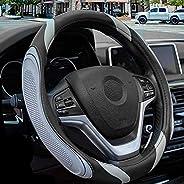 XCBYT Car Sport Steering Wheel Covers - Grey Automotive Universal 14.5- 15 Inches Grip Auto Internal Decoratio