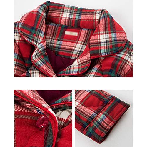 Tela Pijama Espesar Pjs Invierno Caliente Escocesa De Red Ropa Comfort Para Dormir Loungewear Camisas Algodón Soft Conjunto Mujer Iw7BWX1qz