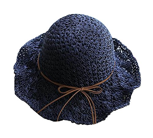 Alien Storehouse Lady Summer Straw Hat Beach Hat Wide Brim Hat Topper Navy by Alien Storehouse (Image #2)