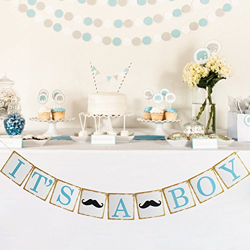 Church Anniversary Banner - IT'S A BOY Banner Paper Garland Bunting Sign Christening Baby Shower Garland Decoration Birthday Party Favors Photo Props (boy, black mustache)