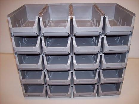20 Cajas apilables, cajas de almacenamiento, cajas de visión, talla 2L gris 102
