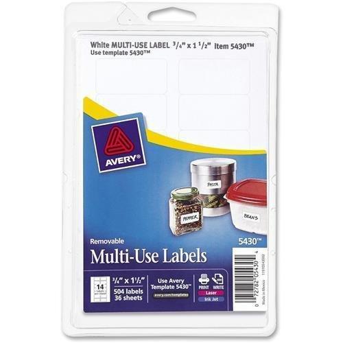 "S1224 Avery Handwritten Removable ID Label - 1.50"" Width x 0.75"" Length - 504 / Pack - Rectangle - Laser, Inkjet - White"