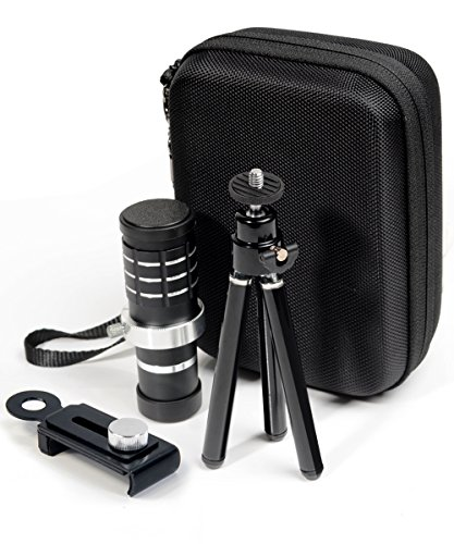 WGear Telephoto Cell Phone Lens by, 12X HD Zoom Lens Kit with 30mm Wide Angle Macro Lens, Sturdy travel case, Professional Stand Kit and Stand Mount for Universal Smartphone IOS, Android and others by WGear