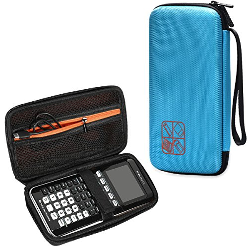 BOVKE for Graphing Calculator Texas Instruments TI-84/Plus CE Hard EVA Shockproof Carrying Case Storage Travel Case Bag Protective Pouch Box,Blue