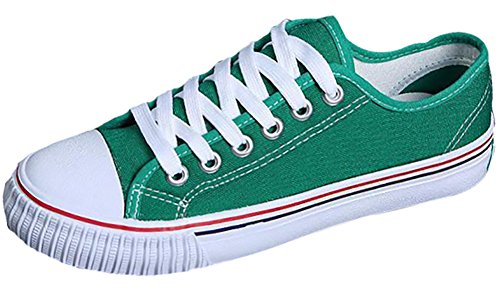 Odema Women Lace Up Canvas Shoes Fashion Sneakers Classic Casual Preppy Style Flat Shoes Green -