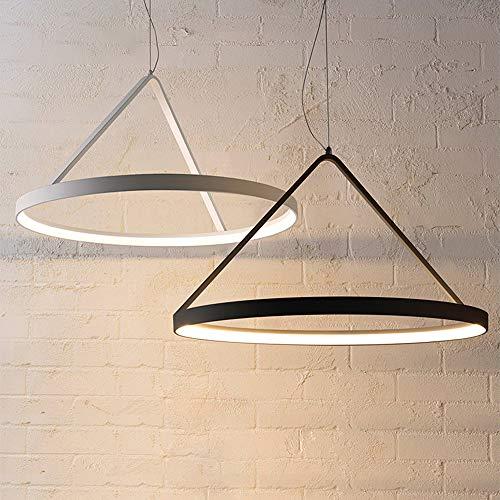 LAKIQ Hanging Chandelier Glare-Free Illumination Round LED Halo Flush Mount Ceiling Lights Pendant Lighting Fixture for Dining Table Living Room Bedroom (Black, 15.75'')