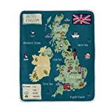 union jack fleece - ALAZA World Map Union Jack Octopus Plush Throws Siesta Camping Travel Fleece Blankets Lightweight Bed Sofe Size 50x60inches