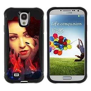 iKiki Tech / Estuche rígido - Woman Red Head Fire Witch Eyes Wizzard - Samsung Galaxy S4 I9500