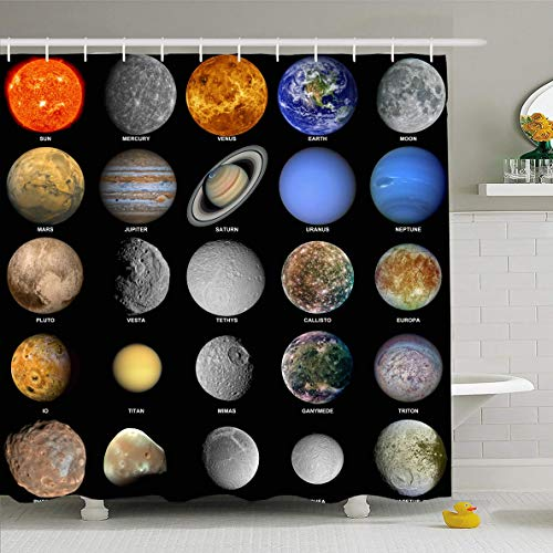 Ahawoso Shower Curtain 60x72 Inches Earth Alien All Planets That Make Solar System Mars Science Asteroid Callisto Deimos Dione Design Waterproof Polyester Fabric Bathroom Curtains Set with Hooks ()
