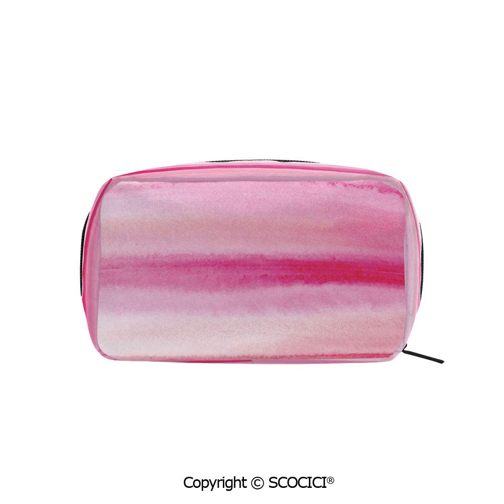 Rectangle Printed Beauty Cosmetic Bag Pouch Hand Drawn Watercolor Brush Strokes Artsy Pattern Wet Paint Style Romantic Image Women fashion Toiletry Travel Bag