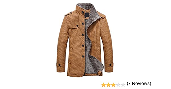 42b6c14613e4 XWDA PU Leather Jacket Men Thicken Fur Lined Coat Warm Stand Collar Outwear  M-4XL: Amazon.ca: Clothing & Accessories
