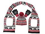 Bruceriver Girls Christmas Snowflake Knitted Gloves,Scarf and Hats Sets Colour Red