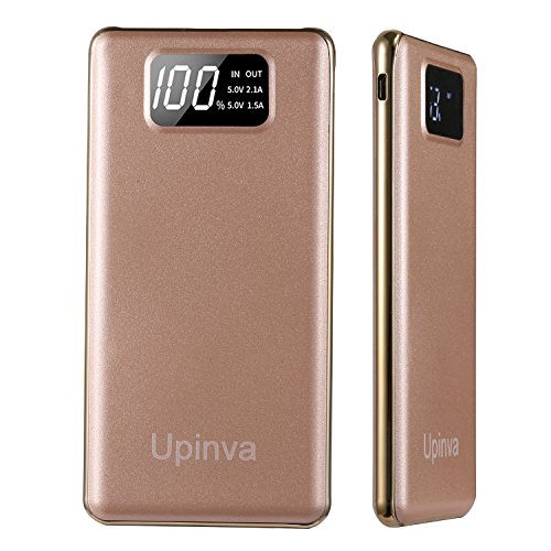 Upinva Portable Ultra Slim Power Bank with 2 USB Ports 10000mAh External Battery Charger with Smart LED Digital Display,Fast Charge for iphone Samsung Tablet and More Smartphone (Gold)