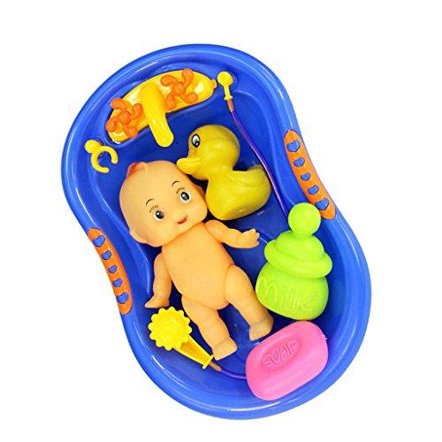 Magideal Blue Plastic Bathtub With Baby Doll Bath Toy Set