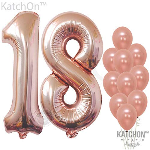 Rose Gold 18 Balloon Numbers, Large, Pack of 12 | 1 and 8 Birthday Number Balloon | Rose Gold 18th Birthday Party Decorations Supplies Kit | Foil Mylar and Latex Balloons | 18 Year Old