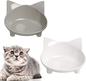 WANTKA Cat Bowl Non Slip Cat Food Bowls, Shallow Cat Pet Bowl Water Bowl Wide Cat Dish Cat Feeding Bowls to Stress Relief of Whisker Fatigue Pet Food & Water Bowls Set of 2 (Safe Food-Grade Material)