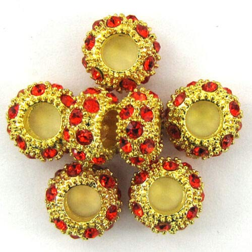 - buyallstore 5 11mm Gold Plated Rhinestone rondelle Beads red findings