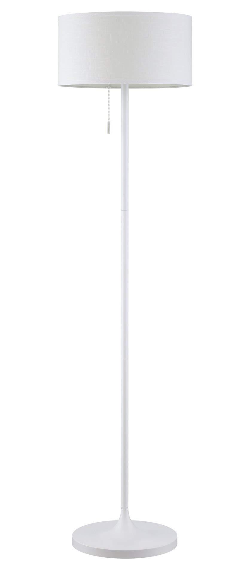 Revel Iris 63'' 2-Light Modern LED Floor Lamp (12W LED (6W x 2), Energy Efficient/Eco-Friendly) + White Shade, White Finish