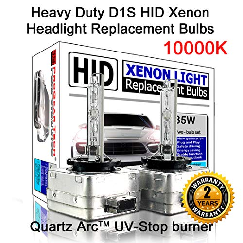 - Heavy Duty D1S D1R HID Xenon Headlight Replacement Bulbs 35W High Low Beam (Pack of 2) (8000K Iceberg)