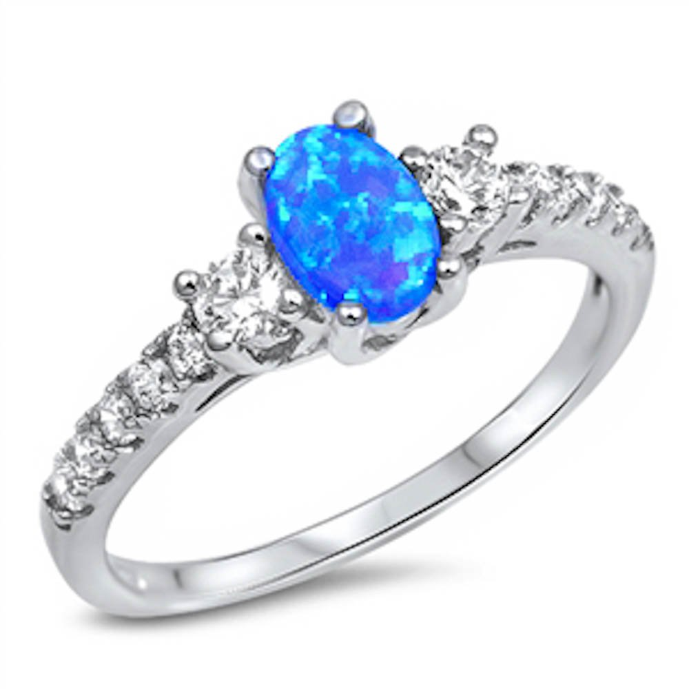 Lab Created Blue Opal & White Cz Fashion Engagement .925 Sterling Silver Ring Size 6