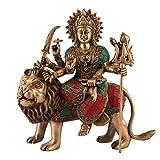 Durga Statue Hindu Goddess Brass Sculpture Maa Durga Kali Devi Lion Figurine Decor Gift