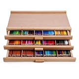 Arts & Crafts : Vencer 3 Drawer Wood Art Storage Box for Pencil, Pen, Pastel, Marker Set VAO-001