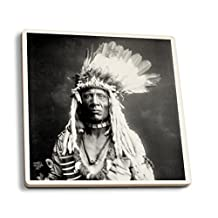Weasel Tail Piegan Indian Native American - (Edward Curtis c 1900) - Vintage Photograph (Set of 4 Ceramic Coasters - Cork-backed, Absorbent)