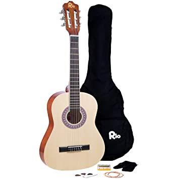 159f4b0858e Rio 3/4 Size Natural Classical Guitar Pack for Kids Beginners - Suit 9 To  12 Years - Includes Bag, Strap, Picks, Pitch Pipes - New: Amazon.co.uk:  Musical ...