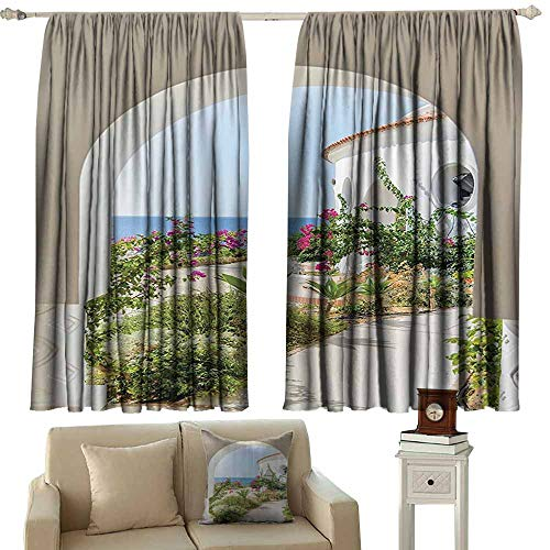 WinfreyDecor Mediterranean Tuscan Island Decor Collection Fashion Curtain Flowers Garden Old Architectural Chic House Ancient Explorer Scenery 70%-80% Light Shading, 2 Panels,55