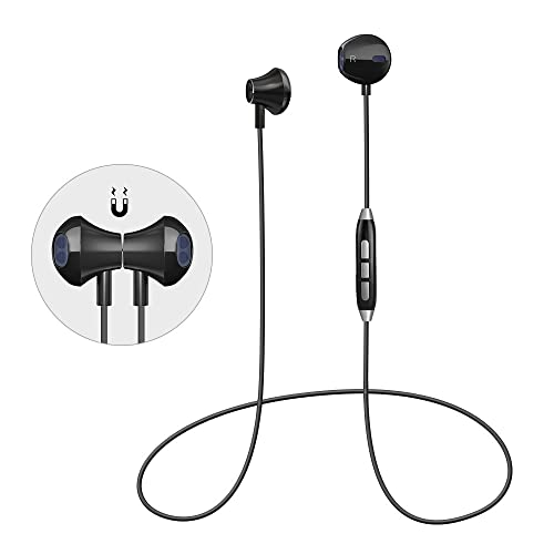 Bluetooth Headphones Magnetic Wireless Sport Earphones In-Ear HD HiFi Stereo Earbuds Noise Cancelling Headset with Mic, Secure Fit, IPX4 Sweatproof for Samsung Galaxy S7 S8 and SmartPhones (black-1)