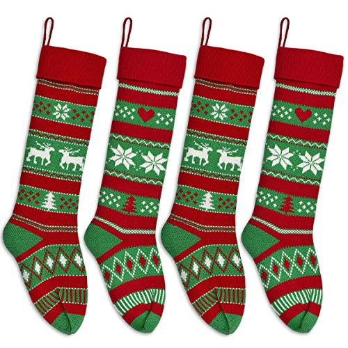 Knit Christmas Stockings (LimBridge Christmas Stockings, 4 Pack 24 inches Extra Long Stripe Snowflake Knit Knitted Xmas Rustic Personalized Large Stocking Decorations for Family Holiday Season Decor, White Red)