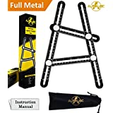 Alphalisc Angleizer Template Tool – FULL METAL Premium Quality Multi Angle Ruler Made out of Superior ALUMINUM ALLOY - FREE Carrying Pouch - Perfect for Measuring Tiles, Roofers, Builders, Handymen, Craftsmen, Weekend Warriors,Carpenters, DIY-ers