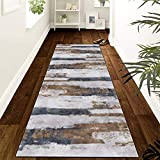 Runner Rug Abstract Gray Brown 23.5Inch X 8Feet