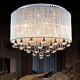 Cheap LightInTheBox Modern Romantic K9 Flush Mount in Cylinder Shade, Drum Style Home Ceiling Light Fixture Pendant Light Chandeliers Lighting for Bedroom, Living Room Warm White