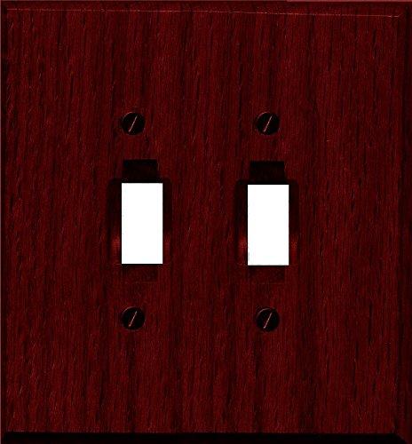 Runwireless Traditional Dark Cherry Wood Wall Plate/Switch Plate - 4-407 (Double Toggle) - Cherry Wood Wall