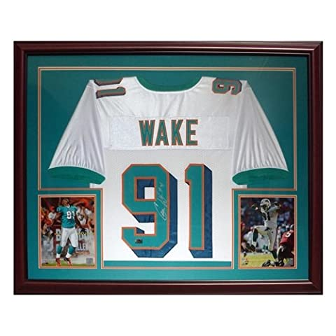 Cameron Cam Wake Autographed Miami Dolphins (White #91) Deluxe Framed Jersey - Wake Holo - Deluxe Framed Jersey