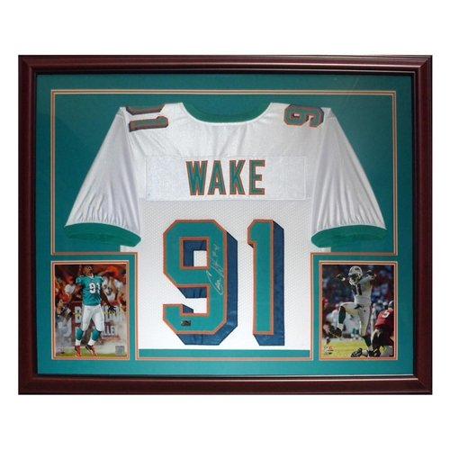 Cameron Cam Wake Autographed Miami Dolphins (White #91) Deluxe Framed Jersey - Wake Holo