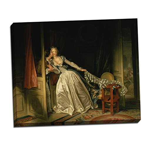 Jean-Honoré Fragonard The Stolen Kiss Gallery Wrapped Canvas Giclee Print - Finished Size (W) 27'' x (H) 22'' [Gallery-Wrap] (S02-11T-Stretched-Border) - Enhanced Image (The Stolen Kiss By Jean Honore Fragonard)