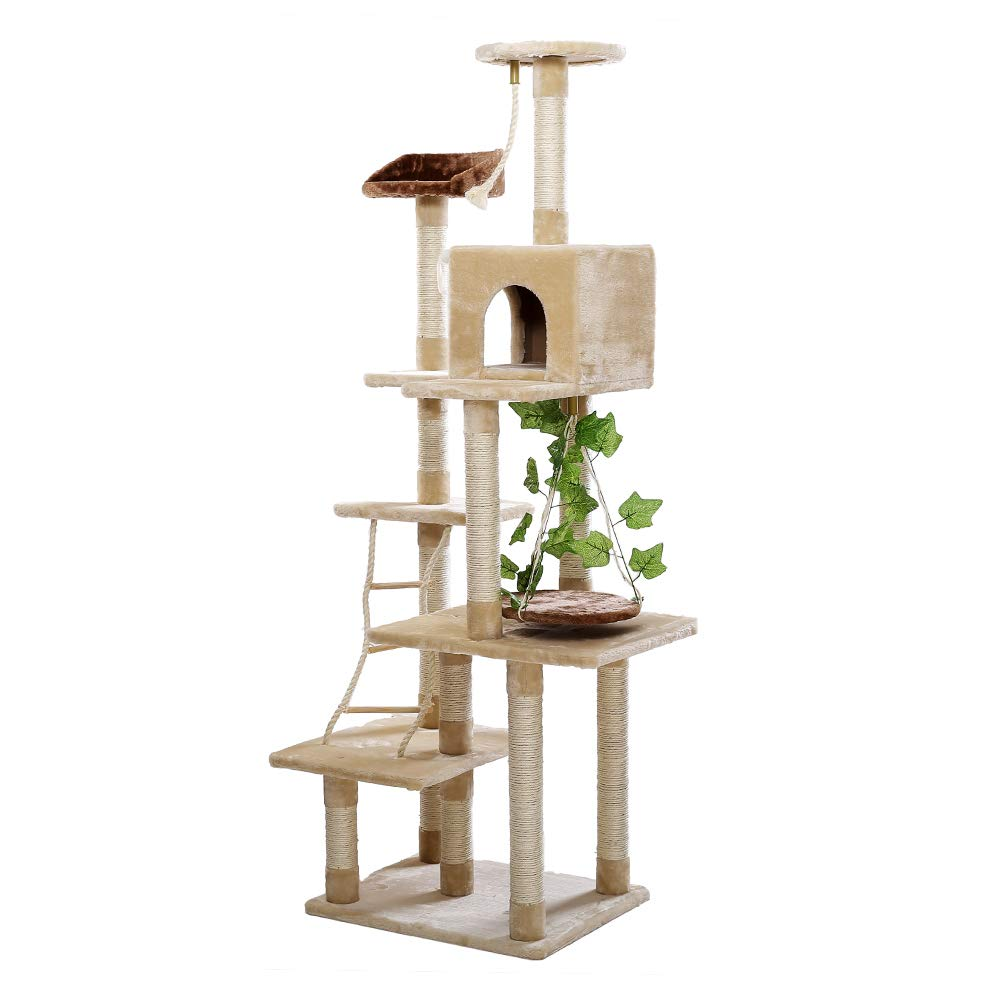 bellissimo Hongge Cat Tree, Tree, Tree, Tiragraffi per Gatti Adulti 6 Platform Dangling Mice Toys Sisal Scratches Base E Amaca Cat Scratcher Centri attività Altezza 185cm  profitto zero