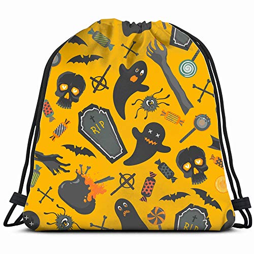 Funny Halloween Characters Elements Abstract Holidays Drawstring Backpack Bag For Kids Boys Girls Teens Birthday, Gift String Bag Gym Cinch Sack For School And Party]()