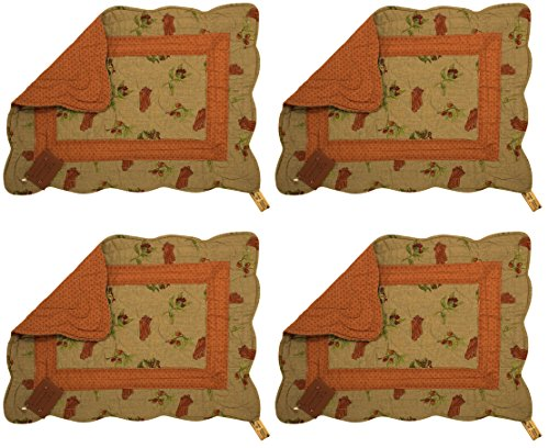Great Finds Cinnamon Sticks Floral Reversible Quilted Cotton Placemats 0218PM, 18x13