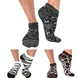 Barre Yoga Pilates Grip Socks / Animal Print / 3 Pair Donates To Animal Rescue / non slip sticky socks